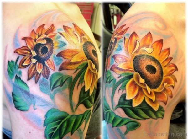 Fabulous Sunflower Tattoo On Shoulder