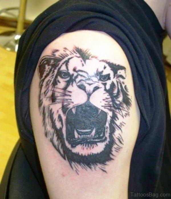 Fabulous Tiger Tattoo On Shoulder