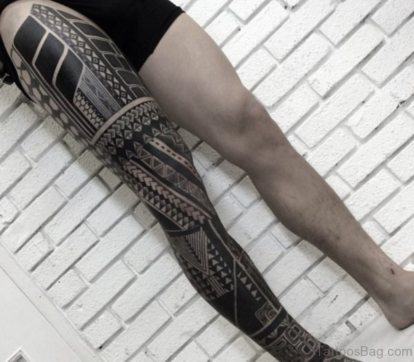 Fabulous Tribal Tattoo Design For Leg