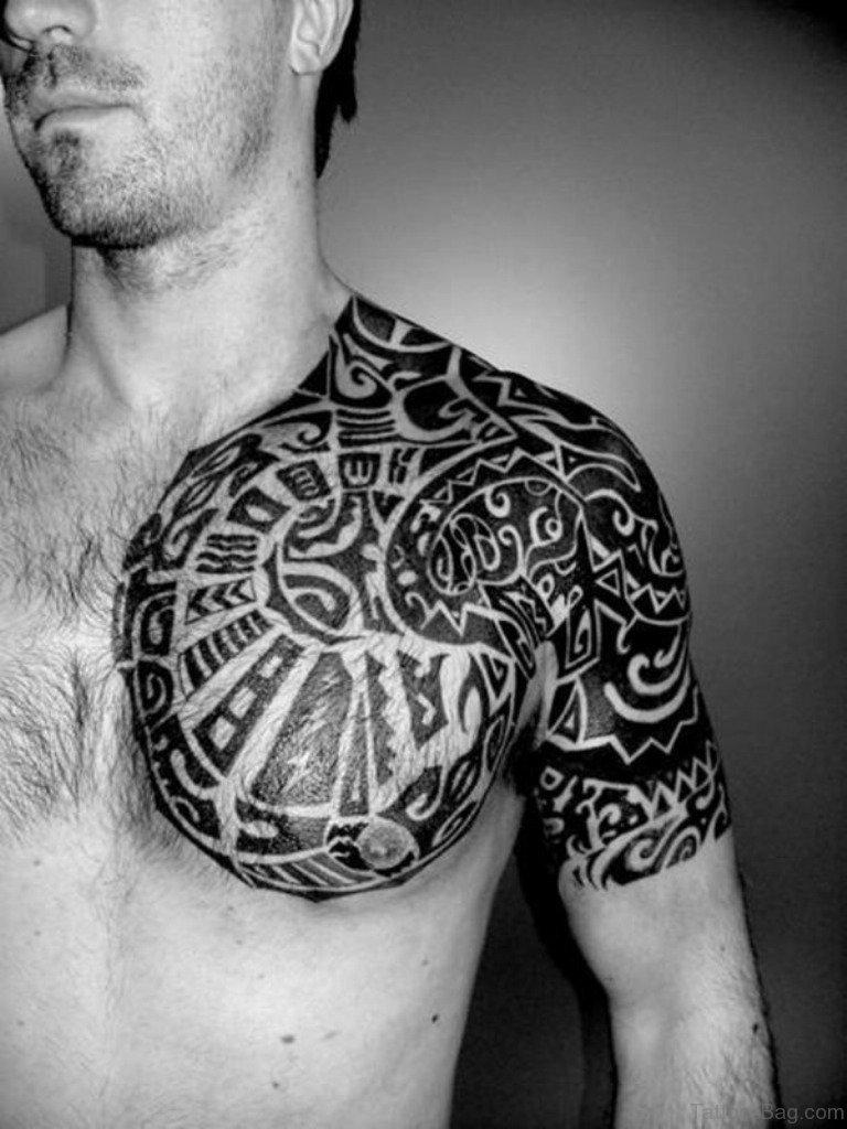 61 stylish tribal tattoos on chest. Black Bedroom Furniture Sets. Home Design Ideas
