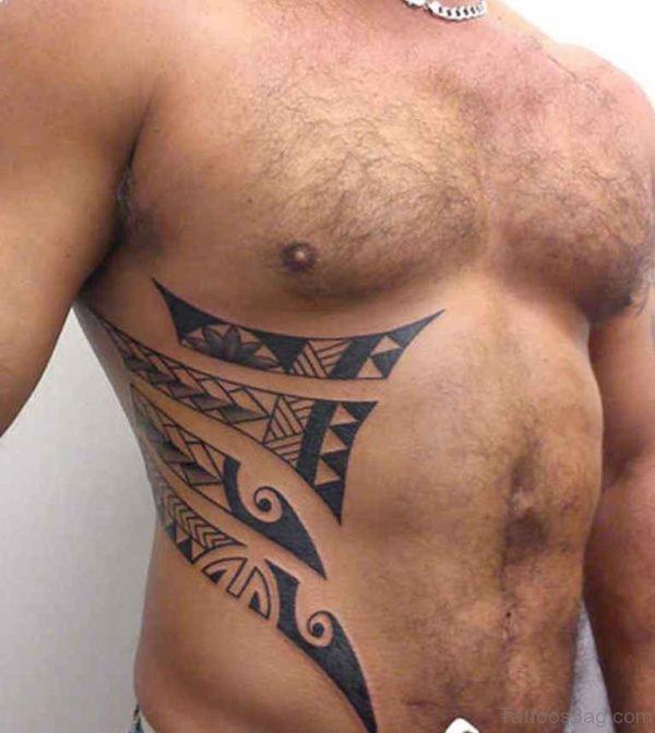 Fabulous Tribal Tattoo On Rib