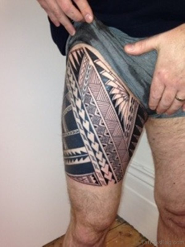 Fabulous Tribal Tattoo On Thigh