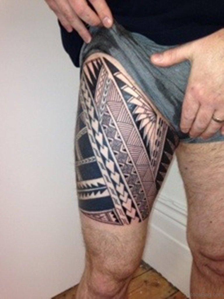 53 Classic Tribal Tattoos On Thigh