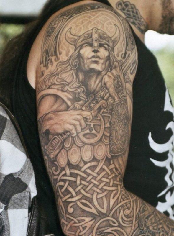 Fabulous Warrior Tattoo On Full Sleeve