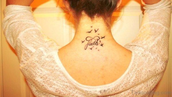 Faith Birds Tattoo On Neck