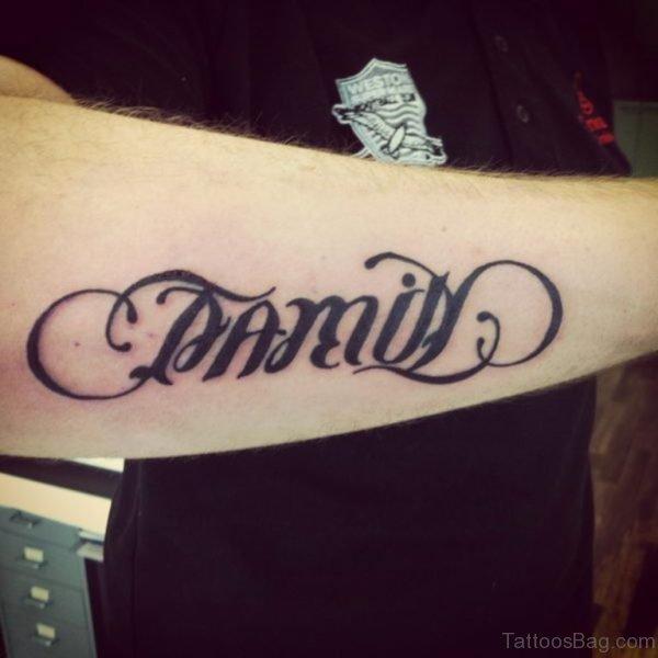 Famil Ambigram Tattoo