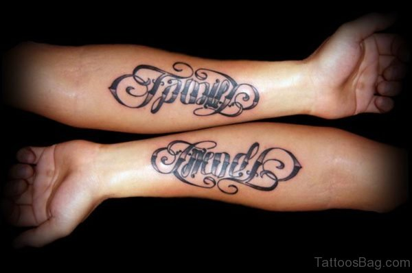 Family Friends Ambigram Arm Tattoo