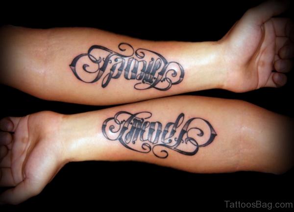 Family Friends Ambigram Tattoo