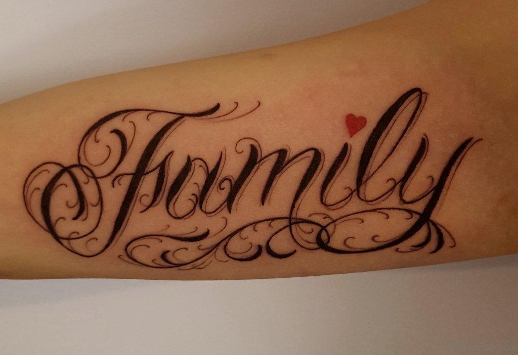 20 best family wording tattoo on arm. Black Bedroom Furniture Sets. Home Design Ideas