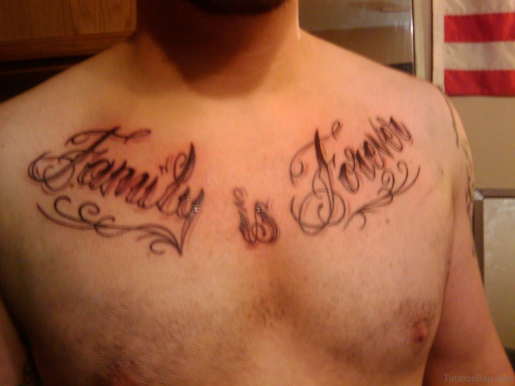 27 Family Wording Tattoos On Chest