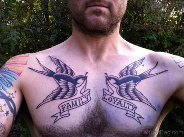 Family Loyalty Swallow Tattoos On Chest