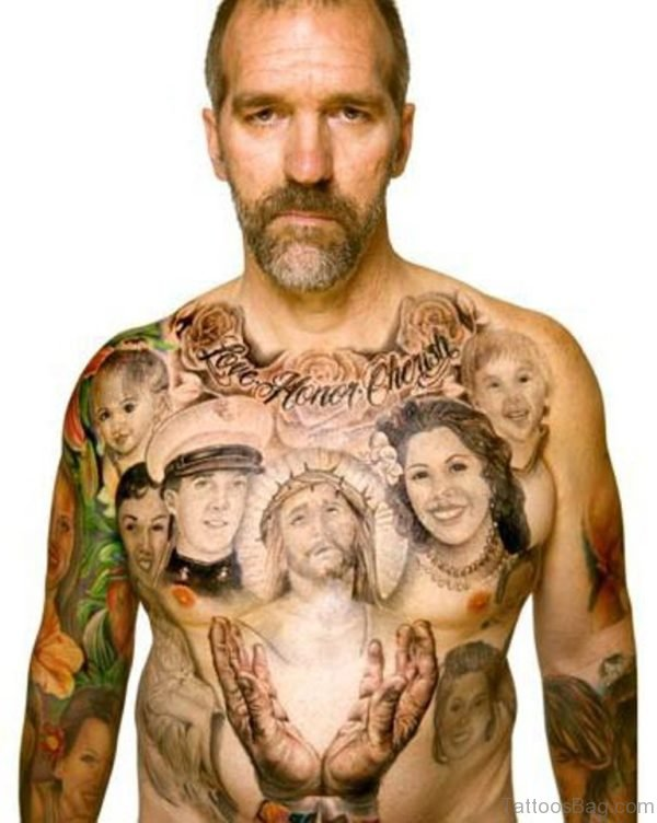 Family Portrait Tattoo On Chest