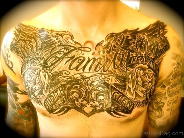 Family Tattoo Design On Chest