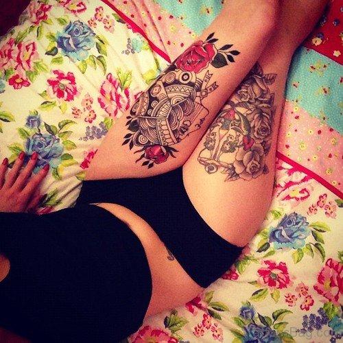 Fancy Anchor Tattoo On Thigh