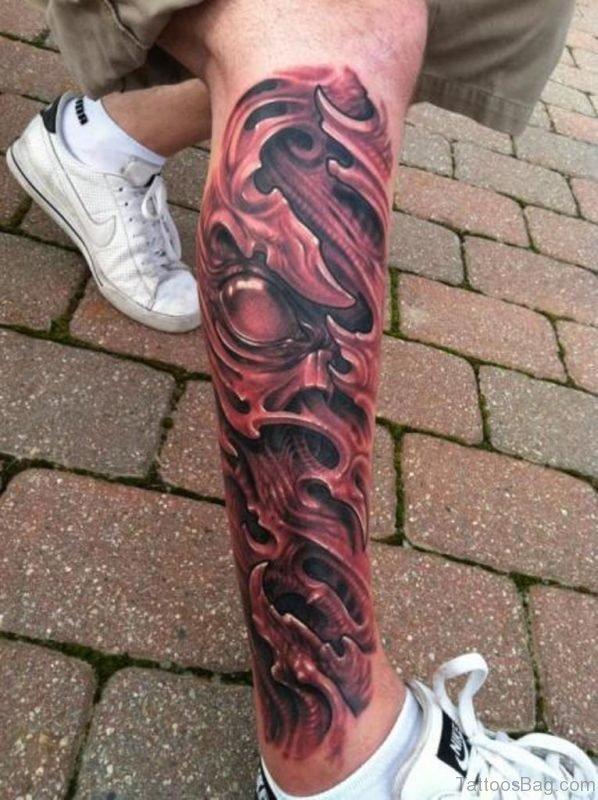 Fancy Biomechanical Tattoo On Leg