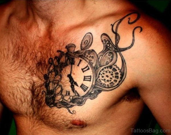 Fancy Clock Tattoo On Chest