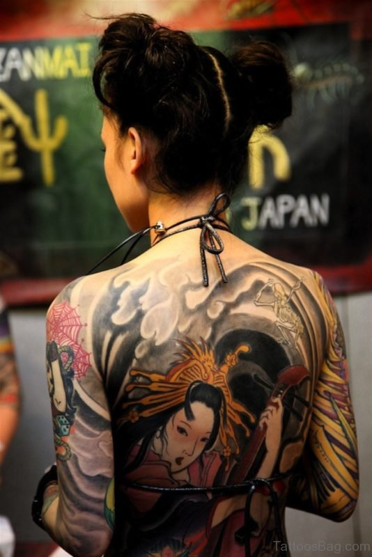 Fancy Geisha Tattoo On Back