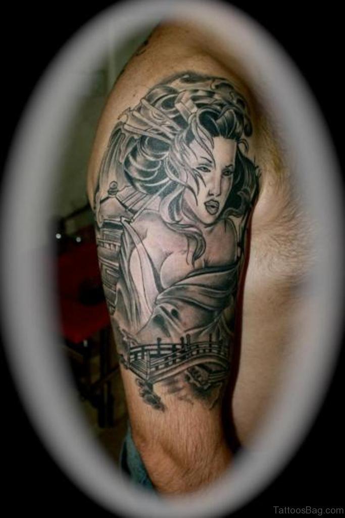 60 brilliant geisha tattoos on shoulder for Fancy name tattoos