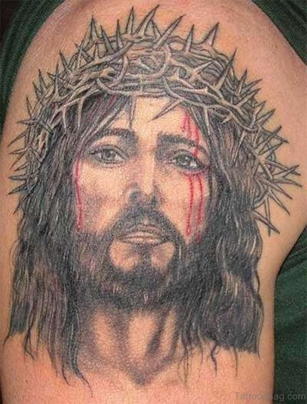 Fancy Jesus Tattoo On Shoulder