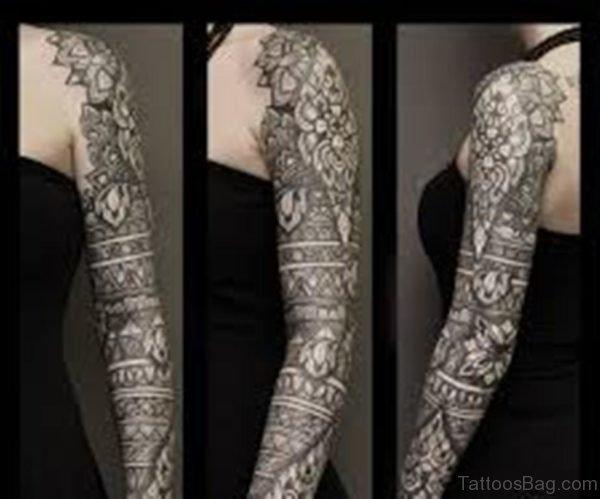 Fancy Mandala Tattoo On Full Sleeve
