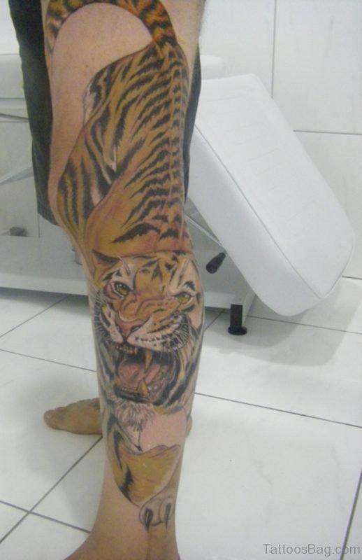 Fancy Tiger Tattoo oN leG