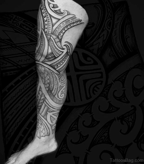 Fancy Tribal Tattoo For Leg