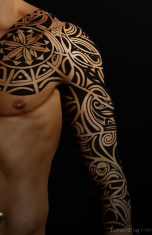 Fancy Tribal Tattoo On Full Sleeve