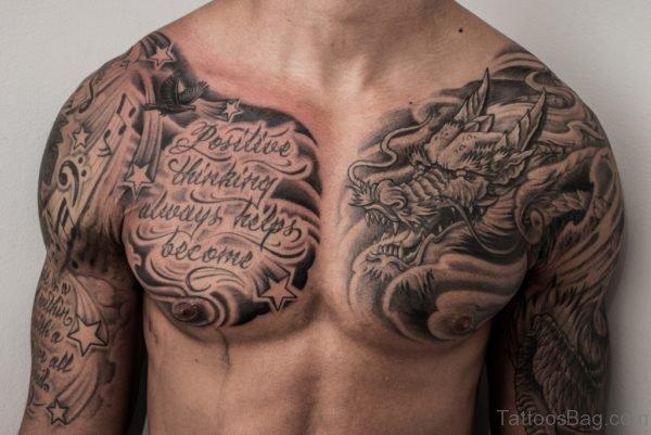 Fantastic Ambigram Tattoo Design On Chest