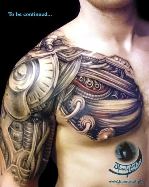 Fantastic Armour Tattoo On Chest