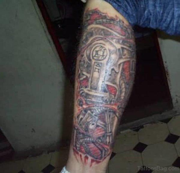 Fantastic Biomechanical Leg Tattoo