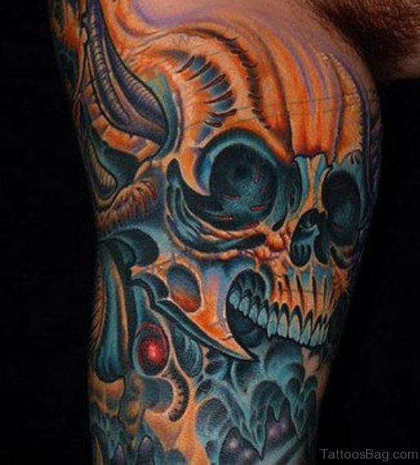 Fantastic Biomechanical Skull Tattoo