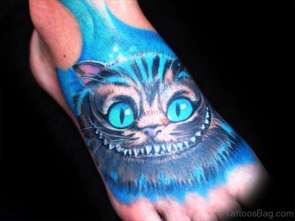 Fantastic Blue Color Cat Tattoo On Foot