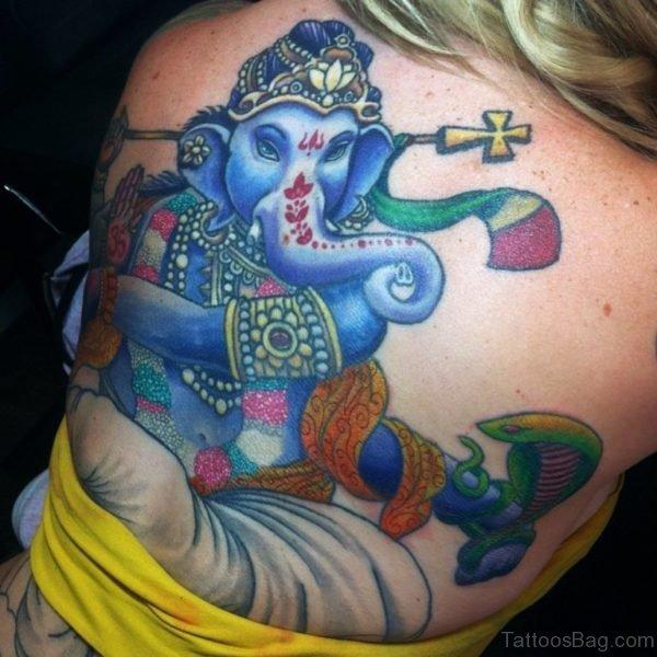 Fantastic Blue Ganesha Tattoo