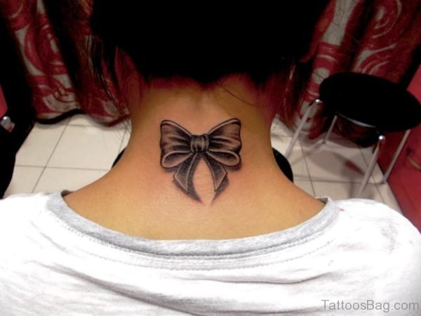 Fantastic Bow Tattoo On Neck