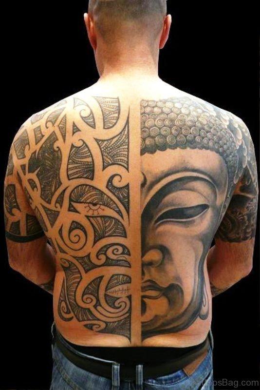 Fantastic Buddha Tattoo On Back