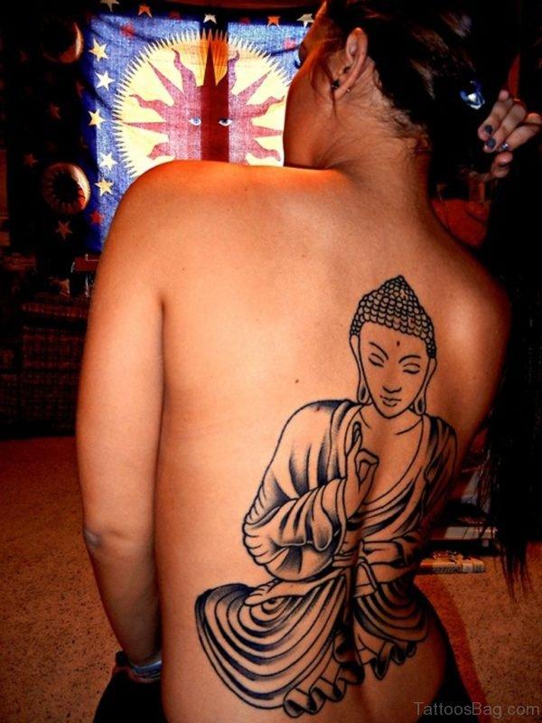 Fantastic Buddha Tattoo On Back Body