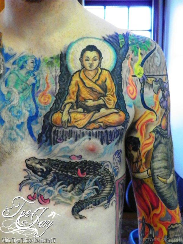 Fantastic Buddha Tattoo On Chest