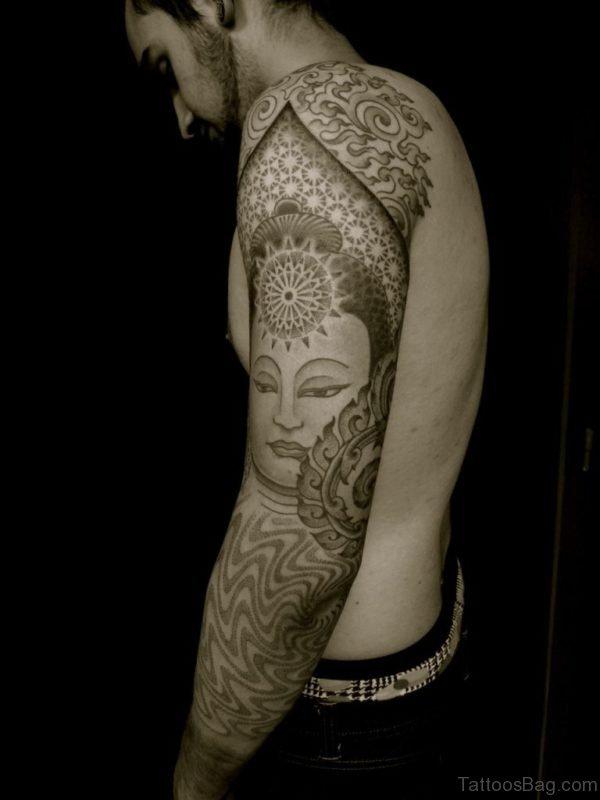 Fantastic Buddha Tattoo On Full Sleeve