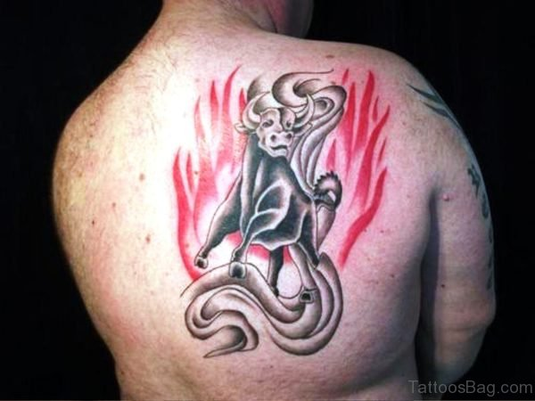 Fantastic Bull Tattoo On Back