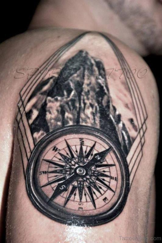Fantastic Compass Tattoo On Shoulder