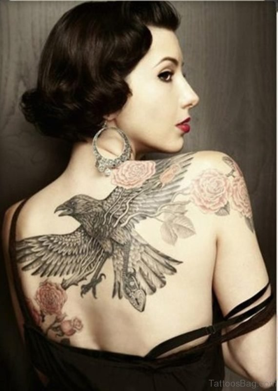 Fantastic Eagle Tattoo On Back