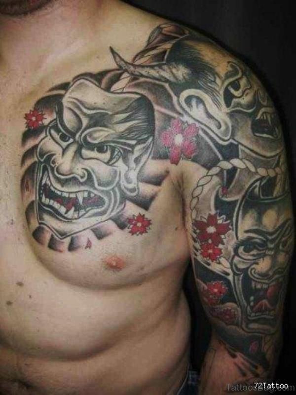 Fantastic Geisha Ghost Tattoo On Shoulder
