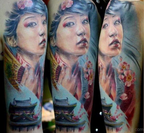 Fantastic Geisha Tattoo Design