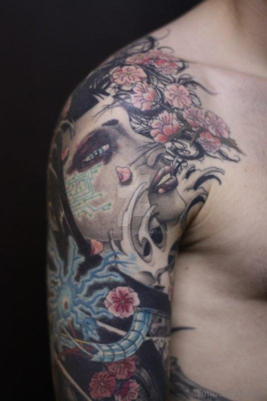 Fantastic Geisha Tattoo Design On Shoulder