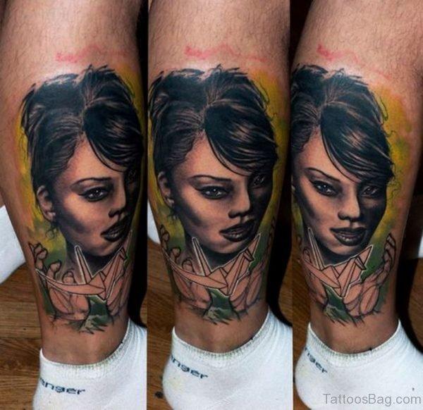 Fantastic Girl Portrait Tattoo On Leg
