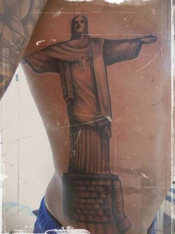 Fantastic Jesus Cross Tattoo On Rib Side For Men