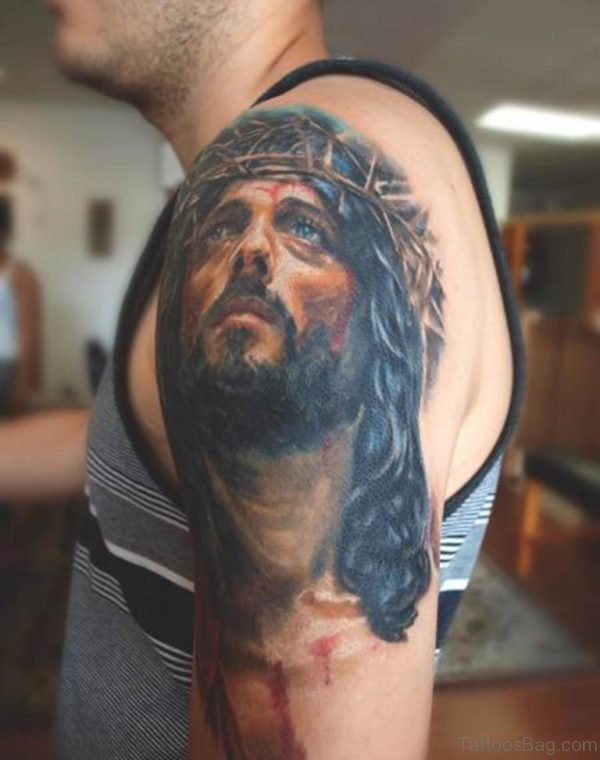 Fantastic Jesus Tattoo On Shoulder