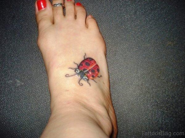Fantastic Ladybug Tattoo On Foot