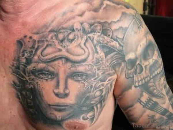 Fantastic Medusa Tattoo On Mens Chest