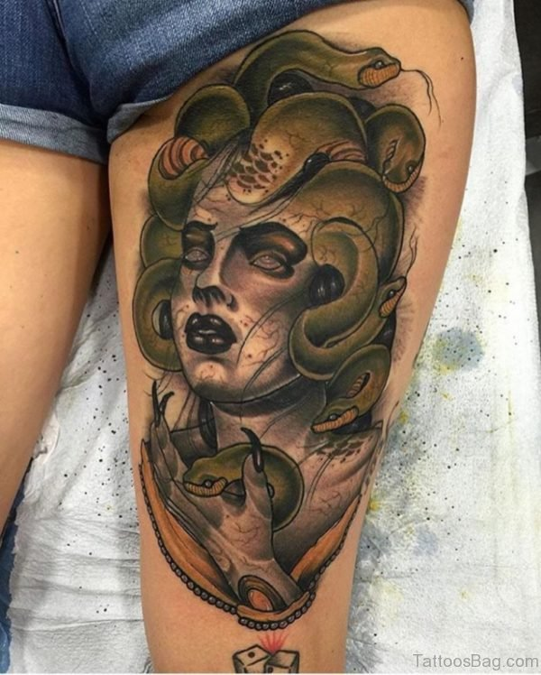Fantastic Medusa Tattoo on Thigh